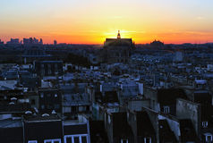 coucher du soleil de Paris Image libre de droits