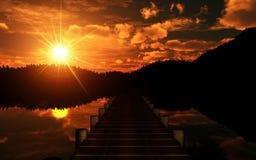 coucher du soleil de passerelle illustration stock