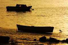 coucher du soleil de paysage de bateaux de l'Andalousie Photo stock