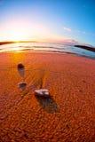 Coucher du soleil de paysage marin Image stock