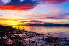 Coucher du soleil de paysage sur la plage Dans les canards de l'eau au coucher du soleil Images stock