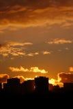 Coucher du soleil de paysage urbain Photographie stock
