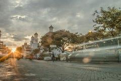 Coucher du soleil de paysages urbains dans l'oldcity Image libre de droits