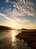 Coucher du soleil de Perranporth image libre de droits