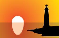 Coucher du soleil de phare illustration stock
