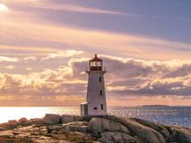 Coucher du soleil de phare Photo libre de droits