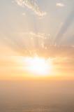 Coucher du soleil de phare de Finisterre, Galicie, Espagne Images stock