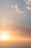 Coucher du soleil de phare de Finisterre, Galicie, Espagne Image stock