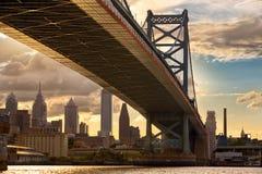 Coucher du soleil de Philadelphie Images libres de droits