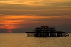 coucher du soleil de pilier de Brighton Image libre de droits