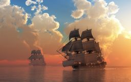 Coucher du soleil de pirate illustration libre de droits