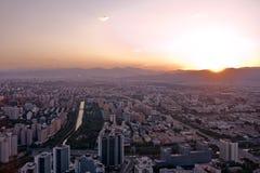 coucher du soleil de Pékin Photographie stock