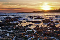 Coucher du soleil de plage Photographie stock