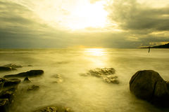Coucher du soleil de plage Images libres de droits