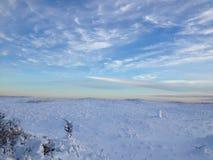 Coucher du soleil de plage d'hiver Photographie stock libre de droits