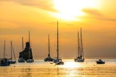Coucher du soleil de plage d'Ibiza Benirras Photos libres de droits