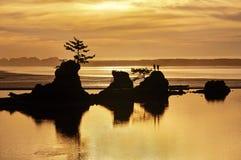 Coucher du soleil de plage d'océan avec des formations de roche et tons d'or de lumière Photos stock