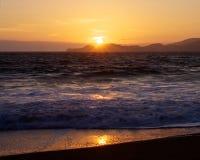 Coucher du soleil de plage de Baker Image libre de droits