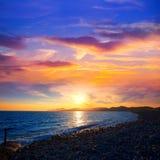 Coucher du soleil de plage de DES Falco de chapeau d'Ibiza es Vedra dans San Jose photographie stock libre de droits