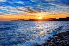 Coucher du soleil de plage de DES Falco de chapeau d'Ibiza es Vedra dans San Jose Images libres de droits