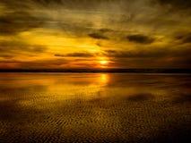 Coucher du soleil de plage de Grayland Photos stock