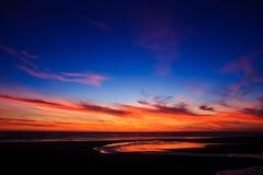 Coucher du soleil de plage de l'Orégon en Lincoln City Image libre de droits