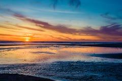 Coucher du soleil de plage de l'Orégon en Lincoln City Images libres de droits