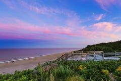 Coucher du soleil de plage de Nauset Photos stock