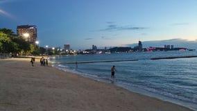 Coucher du soleil de plage de Pattaya Photos stock
