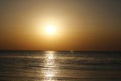 Coucher du soleil de plage de Malkiya photographie stock