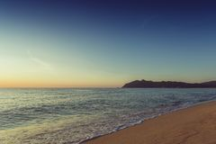Coucher du soleil de plage de mer Photos libres de droits