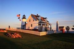 coucher du soleil de point de pemaquid de phare images stock