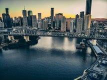 Coucher du soleil de pont d'histoire photographie stock