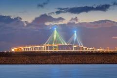 Coucher du soleil de pont d'Incheon la nuit, Seouth Corée Image stock