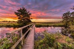 Coucher du soleil de pont en bois photo libre de droits