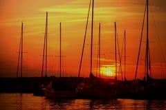 Coucher du soleil de port Photo libre de droits