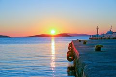 Coucher du soleil de port Image stock