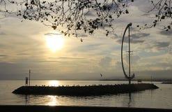 Coucher du soleil de port Image libre de droits