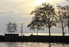 Coucher du soleil de port Photographie stock