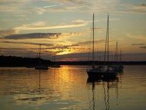 Coucher du soleil de port de Coecles photos stock
