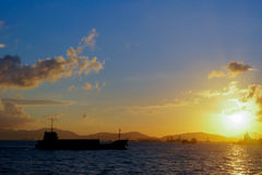 Coucher du soleil de port de Hong Kong Victoria Photo stock