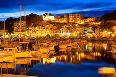 Coucher du soleil de Port de Soller dans Majorca chez Île Baléare Images stock