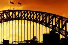 Coucher du soleil de port de Sydney Photographie stock