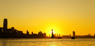 Coucher du soleil de port de Victoria, Hong Kong Images libres de droits