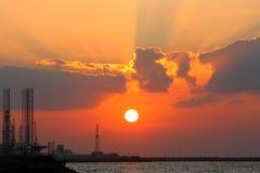 Coucher du soleil de port maritime Images stock