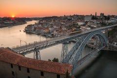 Coucher du soleil de Porto Photographie stock libre de droits