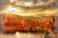 Coucher du soleil de Prague Photo stock