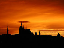 Coucher du soleil de Prague Photos stock