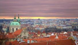 Coucher du soleil de Prague Images libres de droits