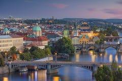 coucher du soleil de Prague Photos stock